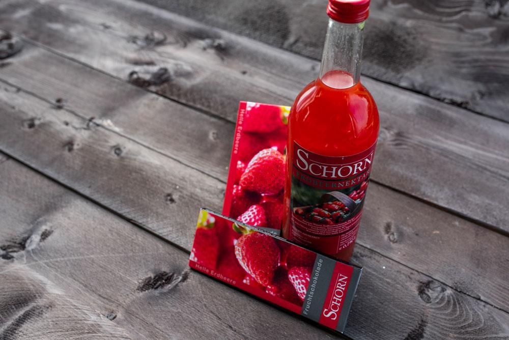 Schorn Erdbeeren - Erdbeernektar, Fruchtschokolade